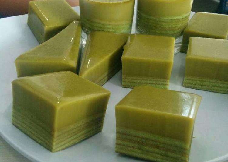 Recipe Of Ultimate Lapis Legit Pandan With Greentea Pudding Best Recipes