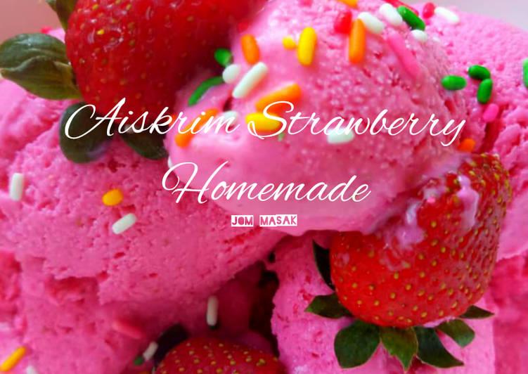Aiskrim Strawberry Homemade - resepipouler.com