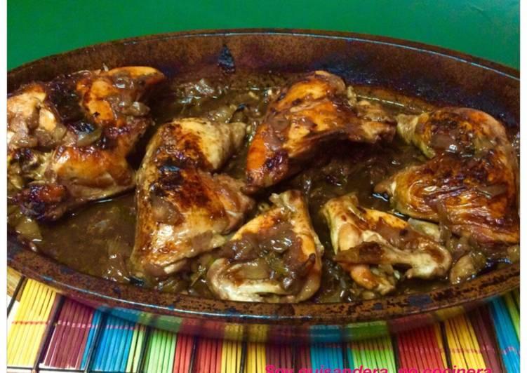 Cómo Hacer Apetitoso Pollo asado con cebolla caramelizada y vino tinto