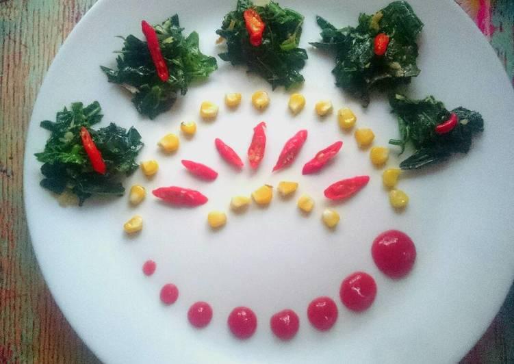Tumis Daun pepaya jepang jagung teri