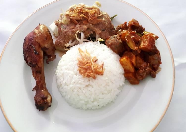 Resep Ayam goreng bacem,pecel dan sambal goreng hati kentang Anti Gagal