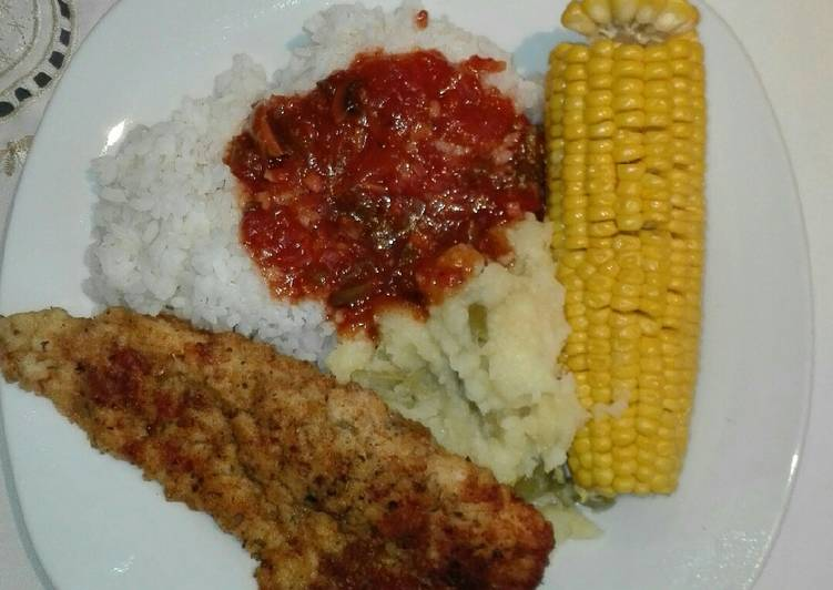 Steps to Prepare Quick Mashed potato,sweet corn and mealie rice