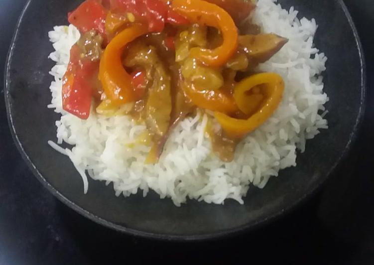 Crispy chilli beef with white rice