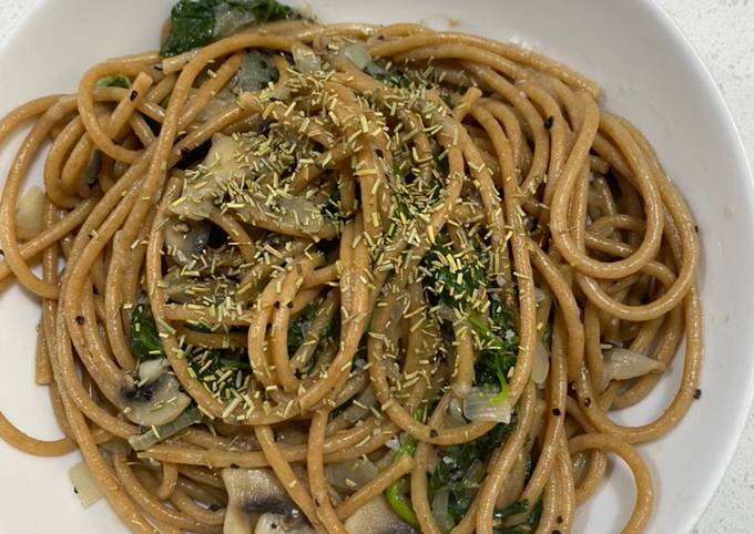Creamy Spaghetti Gandum (tanpa minyak/diet clean eat)