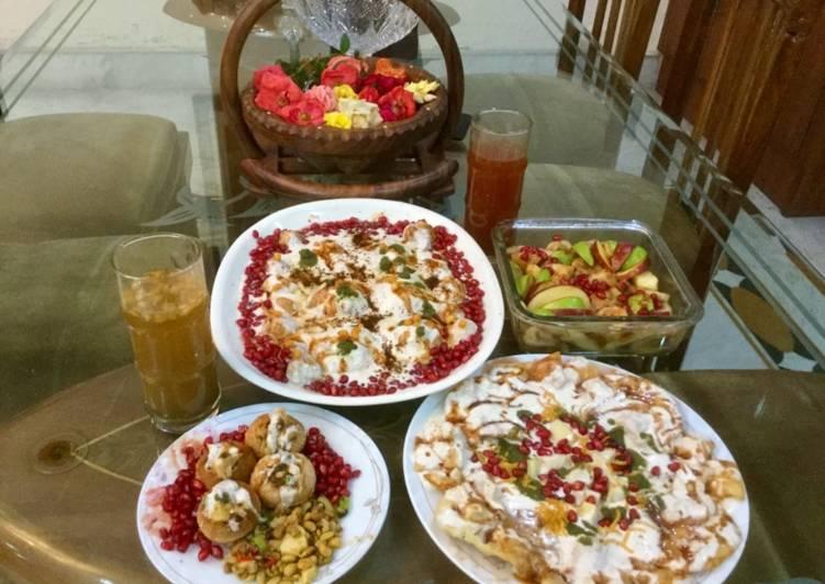 Top 100 Dinner Ideas Quick Dahi bhalla padi chat & Stuffed Golgappas and fruit chat