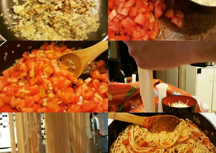 Home made spaghetti noodles with cherry tomatoe garlic sauce