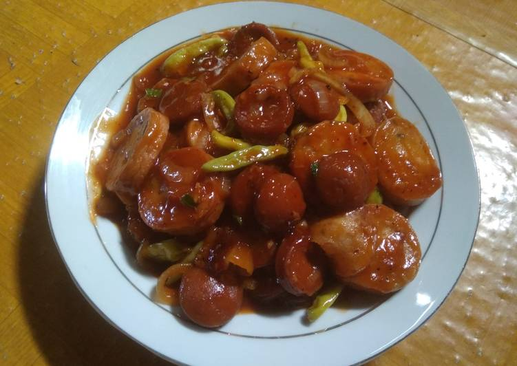 Scallop sossis asam manis