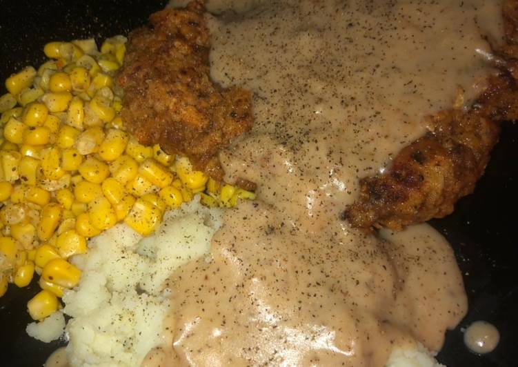 Country fried steak with beef pepper gravy