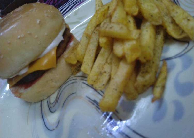 Chicken Cheese Burger with Fries