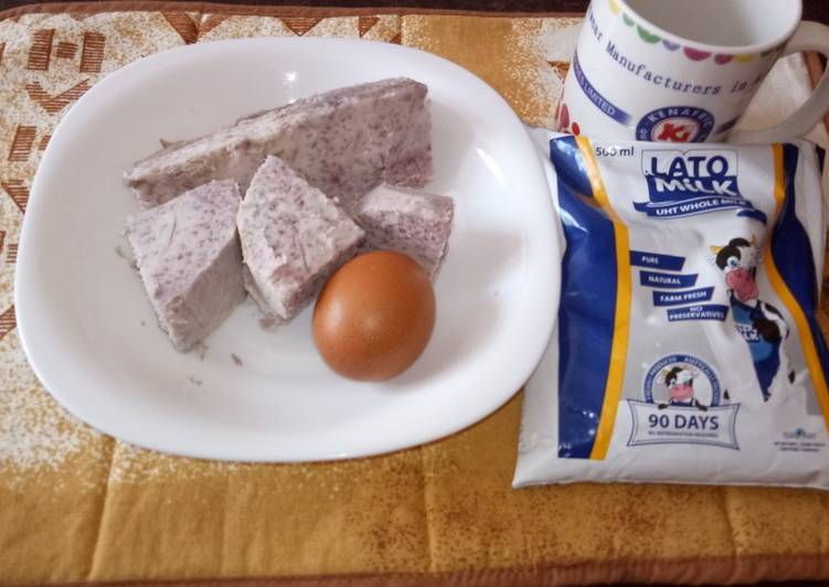 Boiled arrowroot,egg and milk#charity recipe - Laurie G Edwards