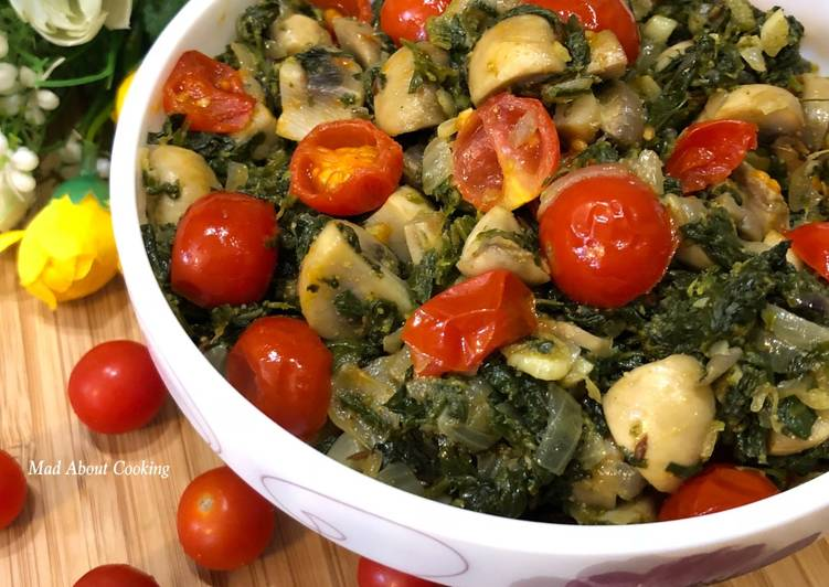 Mushroom Methi With Cherry Tomatoes – Perfect Winter Lunch Recipe