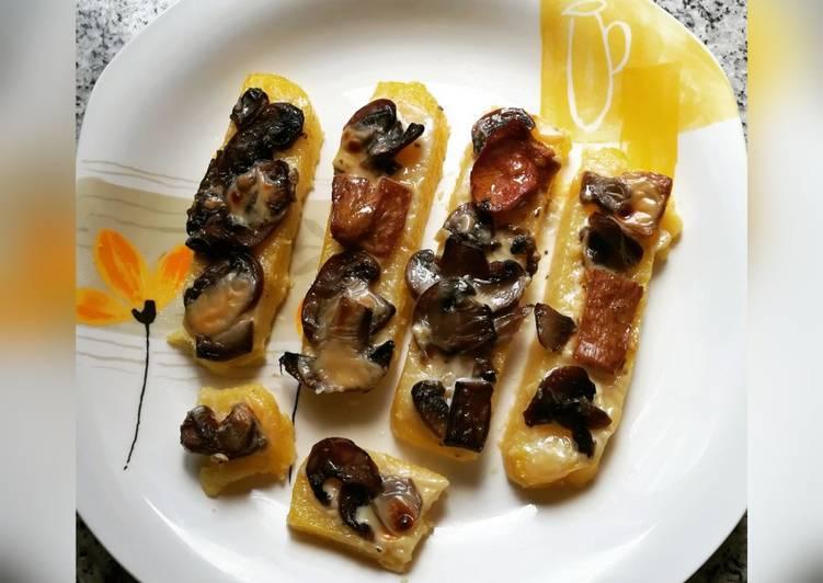 Recipe: Delicious Crostini with polenta and mushrooms