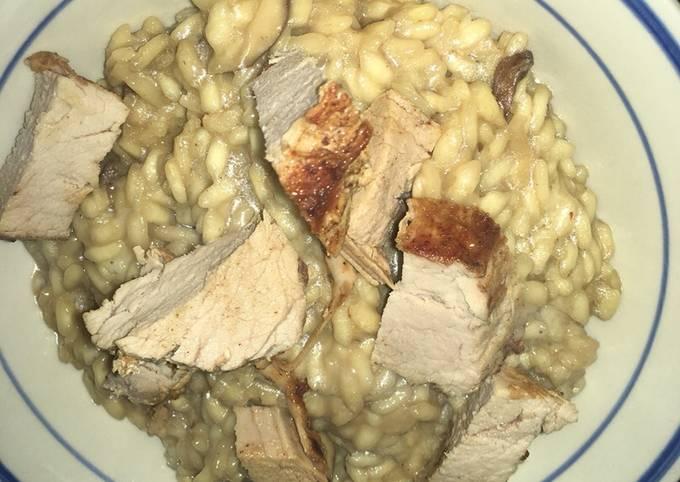 Mushroom risotto with pork