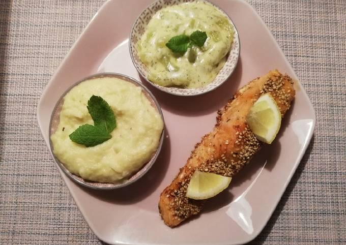 Lachs mit Schmorgurken und Kartoffel-Sellerie-Püree