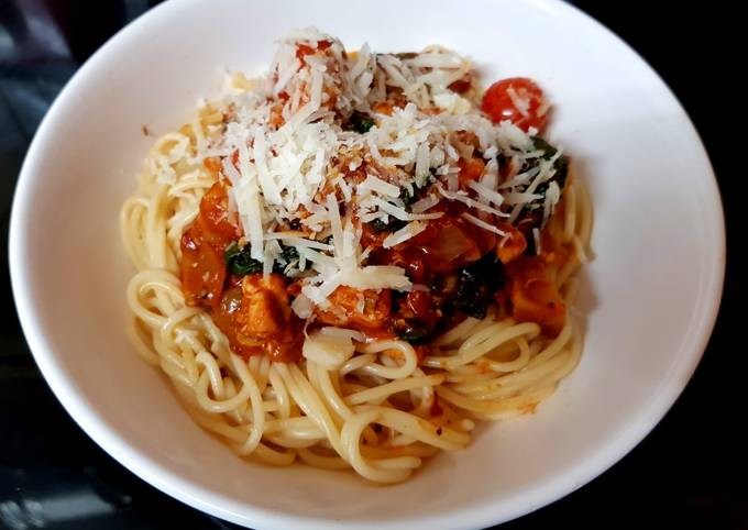 My Medditeranean Tasting Chicken with Spaghetti. 😅