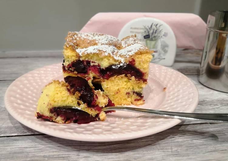 Glutén- és tejmentes kevert szilvás sütemény recept foto
