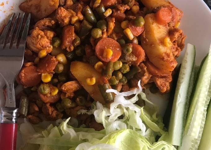 Steam veggies with tikka chicken