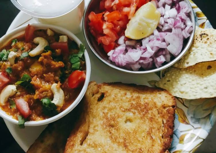 Pavbhaji with buttermilk papad and salad