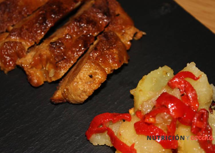 Seitán con patatas y piquillos