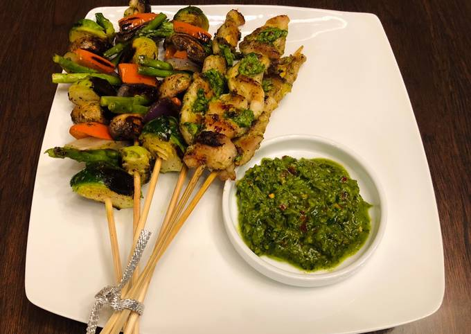 Homemade kebab with chimichurri sauce