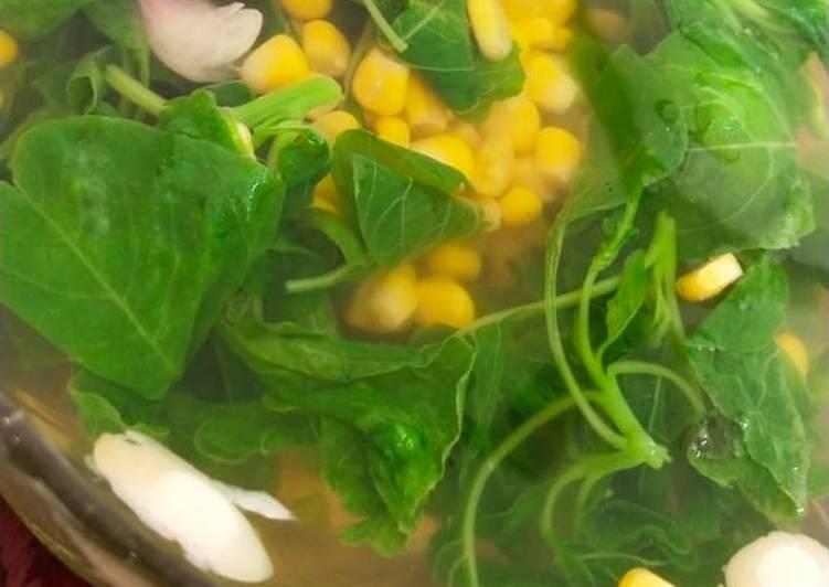 Sayur bening bayam mix jagung manis
