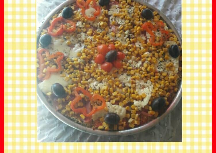 Pizza de coliflor y choclo 🍕😊 💟🌽