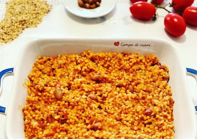 Fregola con pomodori e fagioli