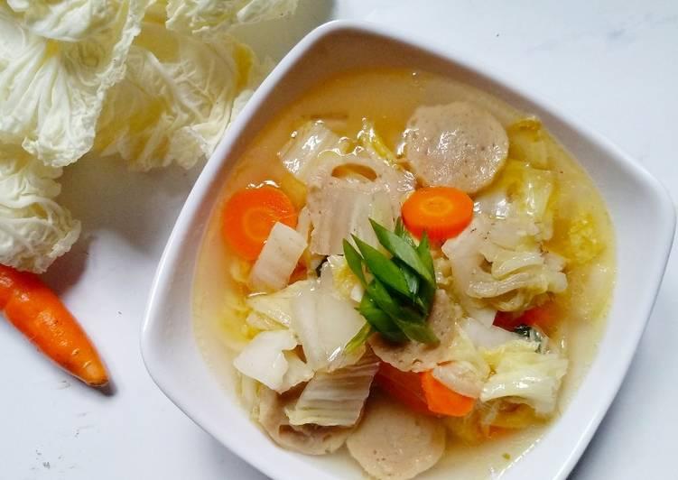 Sawi putih mix wortel baso kuah