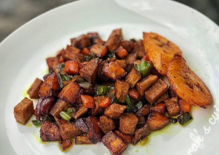 Yam and plantain stir fry