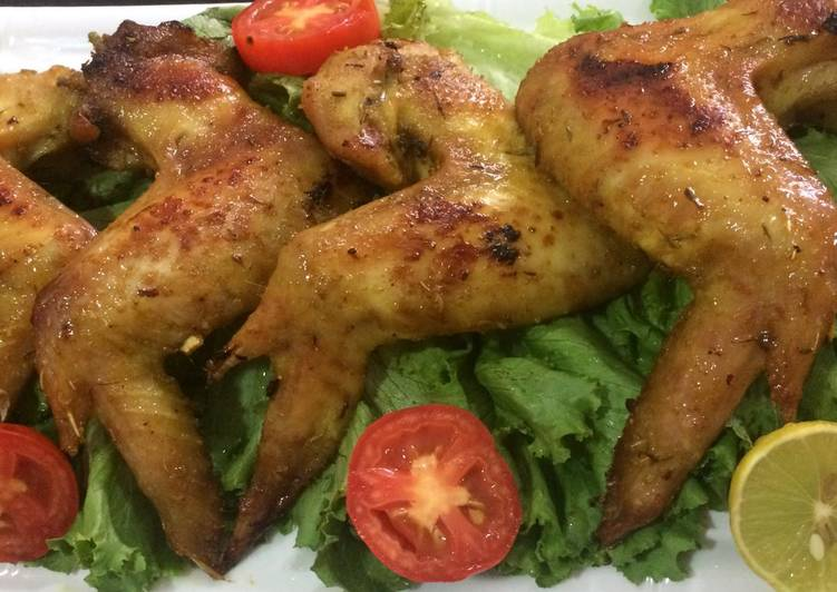 Simple Way to Prepare Perfect Honey glazed oven baked chicken wings