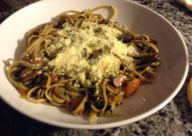 Steps to Prepare Ultimate Linguinne Pasta with Dandelion Greens