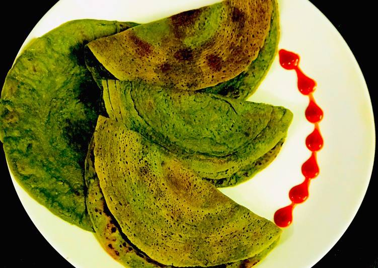 Recipe of Ultimate Spinach Oats Chila (Healthy Breakfast)