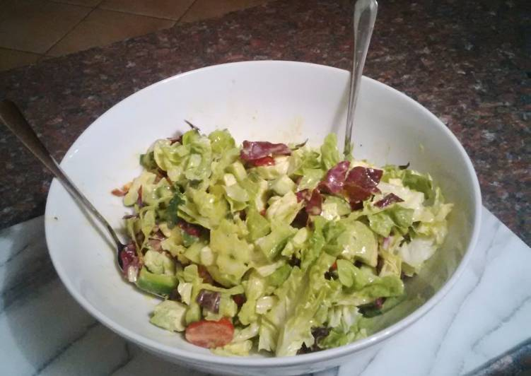 Recipe of Ultimate Bornmann's Vegan Green Salad with Tahini Dressing