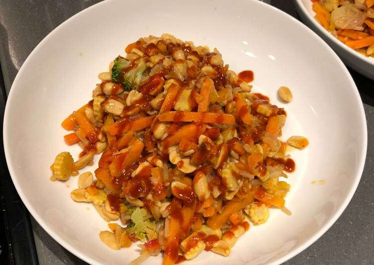 Lazy veg and nut stir fry