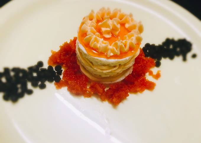 Steamed layered sandesh with orange mousse