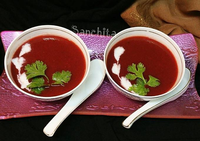 Roasted Bell pepper Tomato Beetroot soup