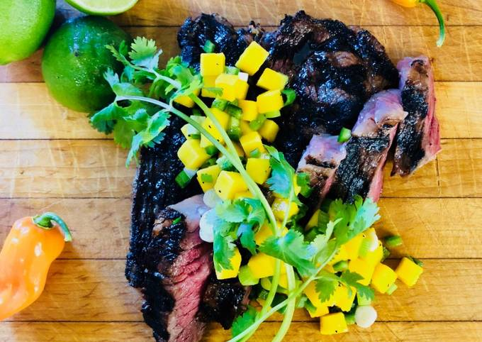 Jerk Marinated Fullblood Wagyu Chuck Eye Steak with Mango Relish