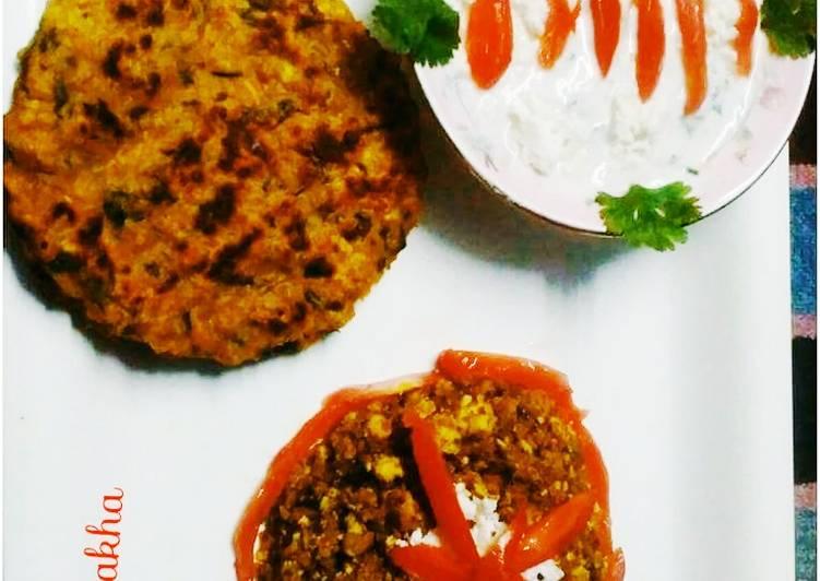 Soya Granules Paneer Bhurji with Oats Spainch Pancake