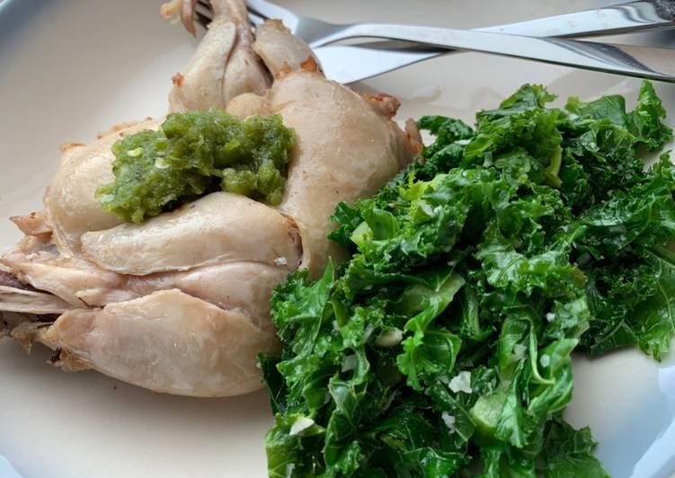 Bikin sendiri di UK, Ayam pop ala restoran padang dengan cabe ijo dan kale (pengganti daun singkong)