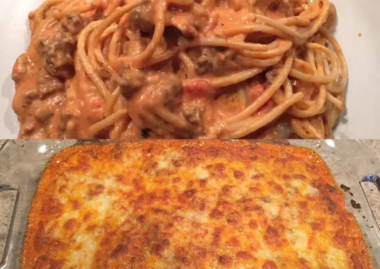 Steps to Prepare Perfect Creamy Baked Spaghetti
