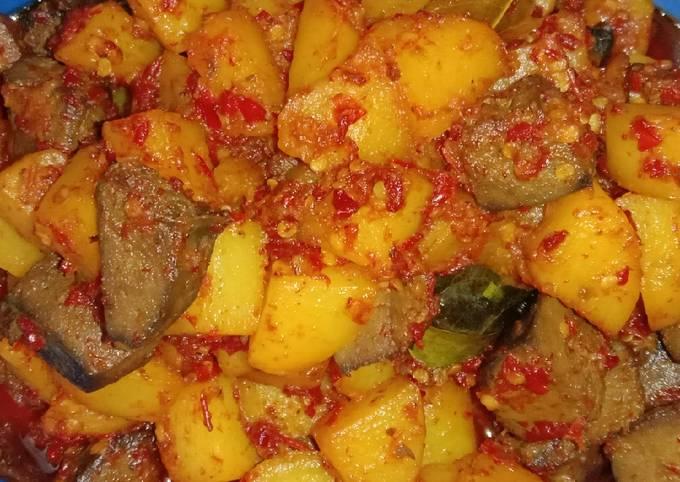 Balado kentang + ati sapi