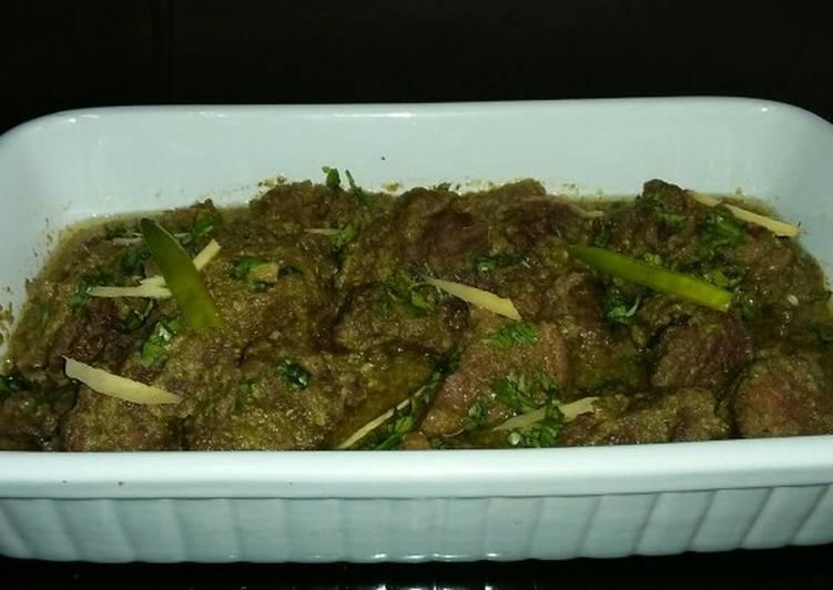 Recipe of Award-winning 💚Green Beef Karahi 💚Dhaba Style