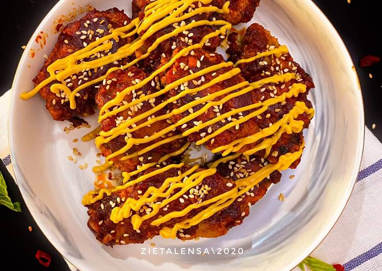 Korean Spicy cheezy chicken - velavinkabakery.com