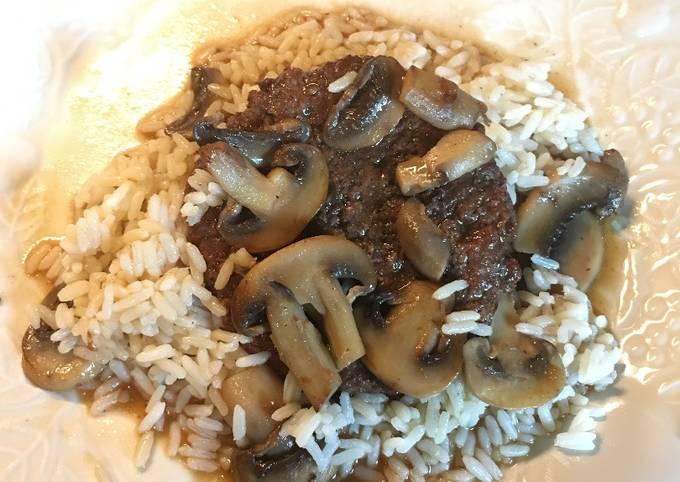 Hamburger Steak with Sautéed Mushrooms on Rice