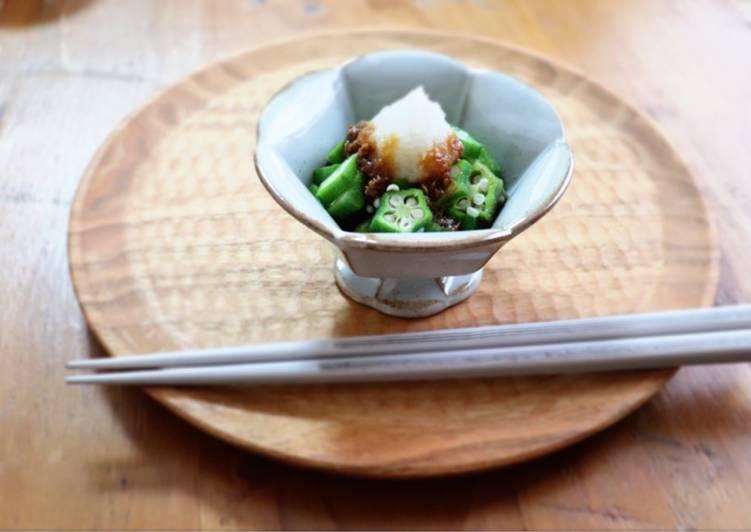 Easy Comfort Dinner Ideas Summer Okura dressed with grated Japanese radish