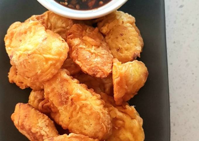 Banana Fritters with Sweet & Spicy Soy Sauce Dip