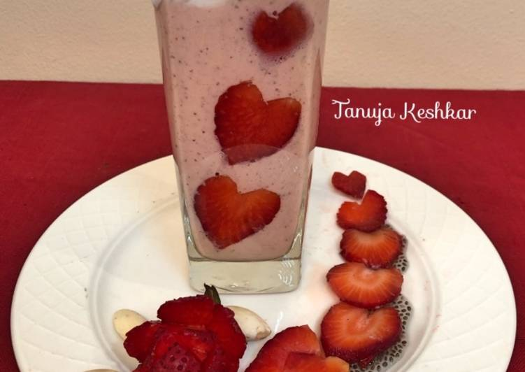 Healthy Chia seeds oats Strawberry Smoothie