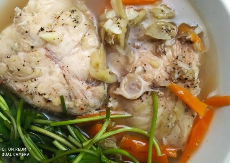 Resepi:  Sup Ikan Merah dengan Lobak Merah dan Pegaga Untuk Ibu Pantang  Dirumah