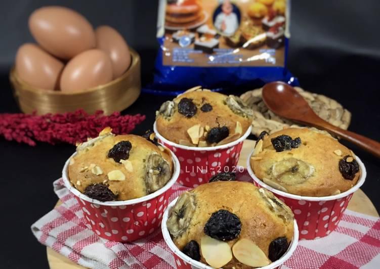 Banana Muffin - cemilan manis - muffin pisang kismis
