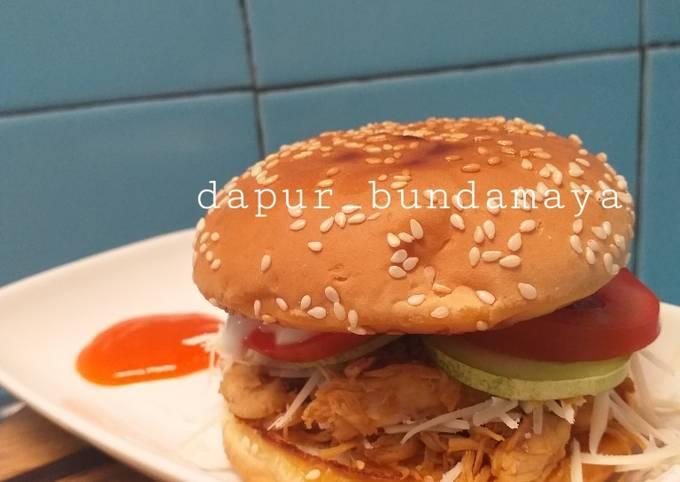 Burger Ayam Suwir bekal anak yang maknyuss